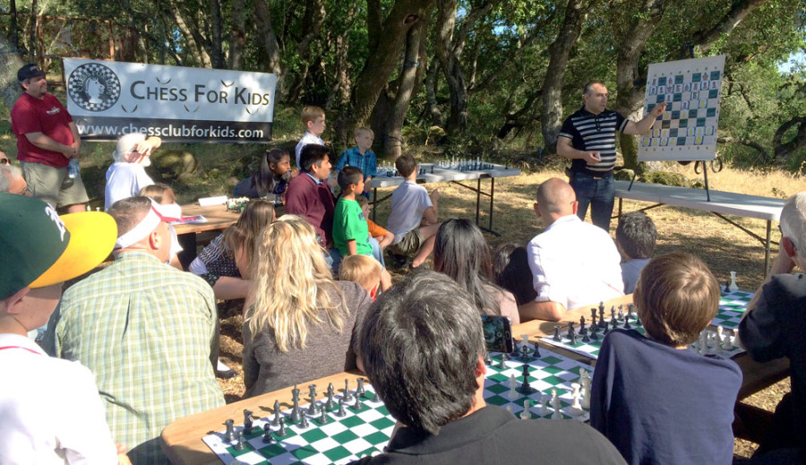 Varuzhan Akobian gives a short lesson to Chess For Kids